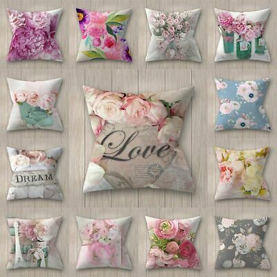 Rose / Peony Flower Floral Print Throw Pillow Case Cushion Cover Home Sofa Decor