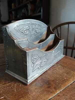 A Super Little Arts And Crafts Pewter Repousse Letter Rack Like Liberty
