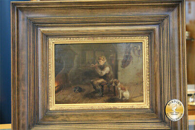 Oil Painting Meno Mühlig Hunter with Dog and Fire Dresden Oil Painting Art