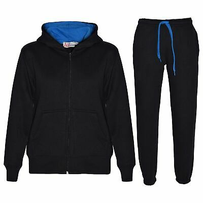 Kids Boys Girls Tracksuit Fleece Black & Blue Hooded Hoodie Bottom Jogging Suits