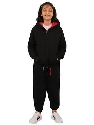 Kids Boys Girls Tracksuit Fleece Black & Pink Hooded Hoodie Bottom Jogging Suits