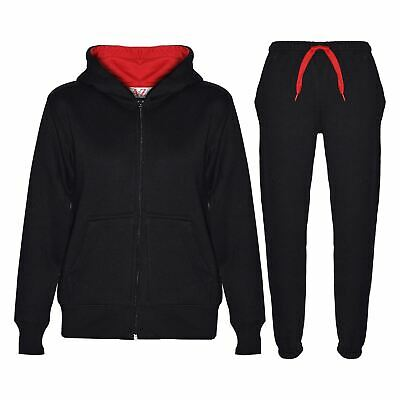 Kids Boys Girls Tracksuit Fleece Black & Red Hooded Hoodie & Bottom Jogging Suit