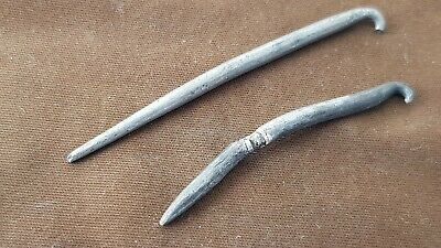 Two large silver pins off very large Roman brooches Please read description L539