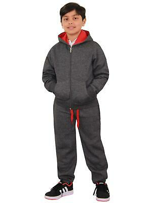 Kids Boys Girls Tracksuit Fleece Charcoal & Red Hoodie & Bottom Jogging Suits