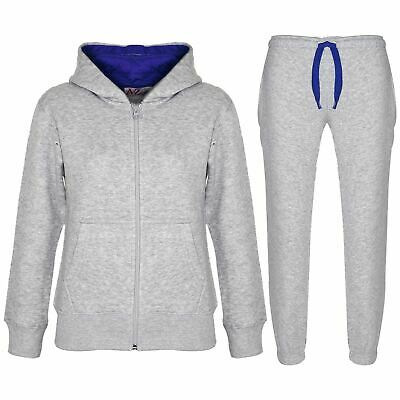 Kids Boys Girls Tracksuit Fleece Grey & Royal Hoodie & Bottom Jogging Suits 5-13