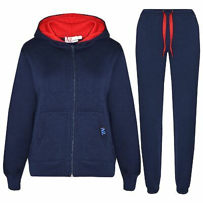 Kids Boys Girls Tracksuit Fleece Navy & Red Hoodie & Bottom Jogging Suits 5-13 Y