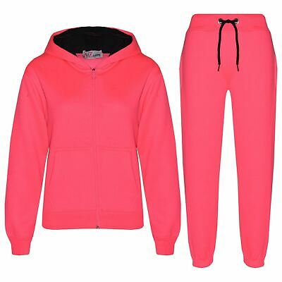 Kids Boys Girls Tracksuit Fleece Neon Pink Hoodie & Bottom Jogging Suits 5-13 Yr