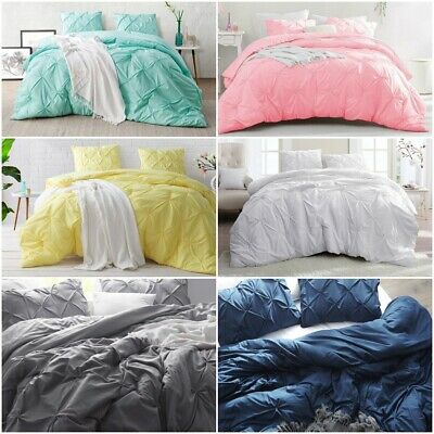 Cotton Duvet Quilt Cover Pintuck Bedding Set Single Double Super King Pillowcase