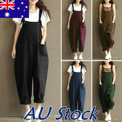 Womens Casual Loose Linen Cotton Jumpsuit Playsuit Trousers Overalls Dungarees