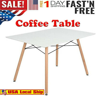 Morden Dining Table Rectangular Top With Wooden Legs Modern Leisure Coffee Table