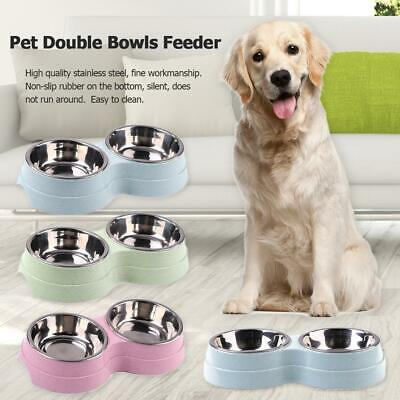 Dog Double Bowl Puppy Food Water Feeder Stainless Steel Pets Drinking Dish UK