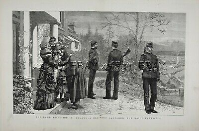 IRELAND Irish History, Land Wars, Landlord & Guards, Huge 1880s Antique Print
