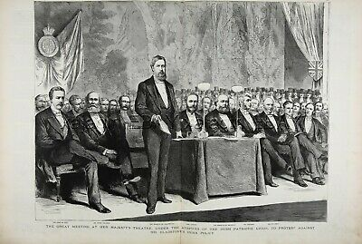 IRISH HISTORY Ireland Irish Patriotic Union Policy, Huge 1880s Antique Print