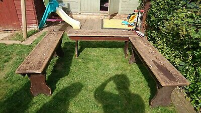 Dark wooden antique benches very sturdy. All three are in good condition.