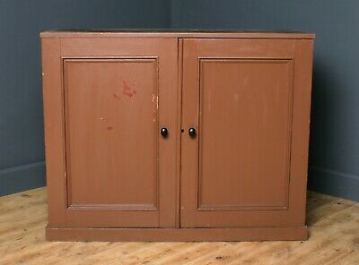 Small Antique Victorian Rustic Pine Golspie Train Station Cabinet Cupboard