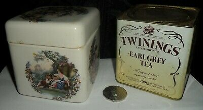 old ceramic Tea Caddy made for TWINNINGS, no chips, colour transfers 4 & lid,vgc