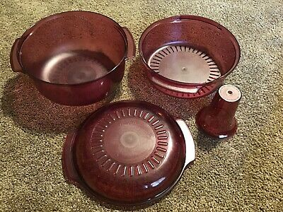 Tupperware 4 Pc Stack Cooker Steamer Microwave Cranberry Cookware Baking ++