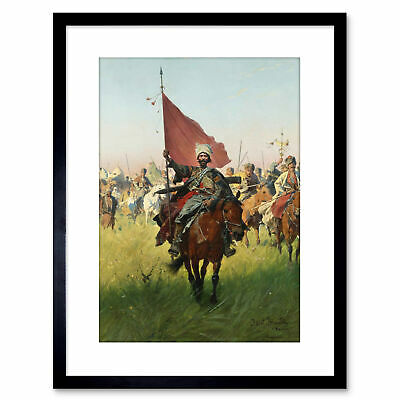 Painting Military Brandt Song Cossack Victors Framed Art Print 9x7 Inch