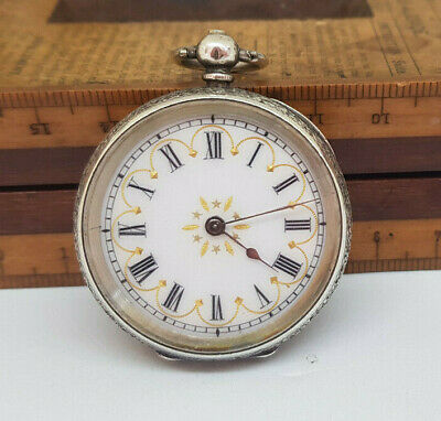 Antique Beautiful Solid Silver Fob White Enamel Dial Pocket Watch