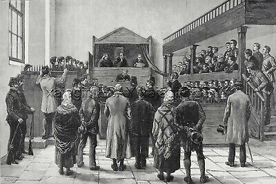 Irish History Legal Land Court Connaught Mayo Ireland, Huge 1880s Antique Print