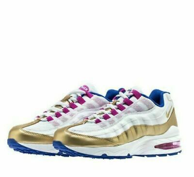 NIKE AIR MAX '95 LE (GS) WHITE/GOLD/BLU 310830 120 SIZE: 5Y Girls 6.5 Women NEW!