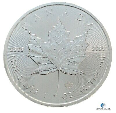 2019 1 oz silver Canadian Maple Leaf ounce bullion coin 5 dollars $ capsule unc.