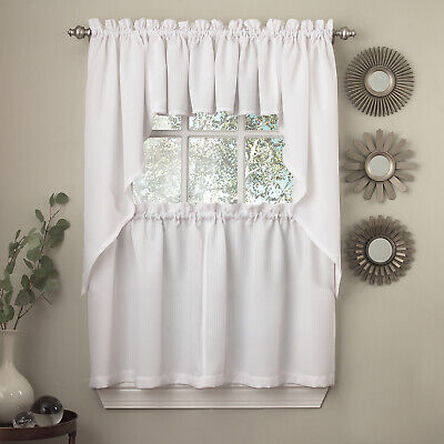 Opaque Ribcord Kitchen Curtains - Swag pair White