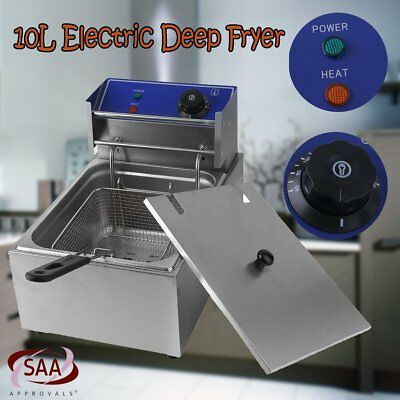10L Commercial Electric Deep Fryer Frying Basket Chip Cooker Fry Scoop NSW @Q
