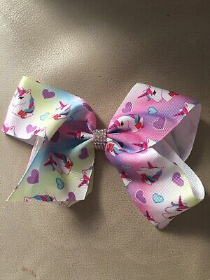 GIRLS LARGE I LOVE UNICORNS RAINBOW BIG RIBBON BOUTIQUE HAIR BOW CLIP SLIDE NEW