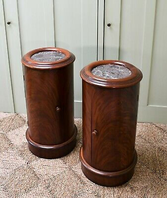 A Pair Victorian Style Mahogany Marble Top Bed Side Cabinet Lamp Tables