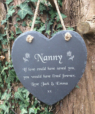 Personalised Engraved Slate Heart Memorial Grave Marker Hanging Plaque Nan Nanny