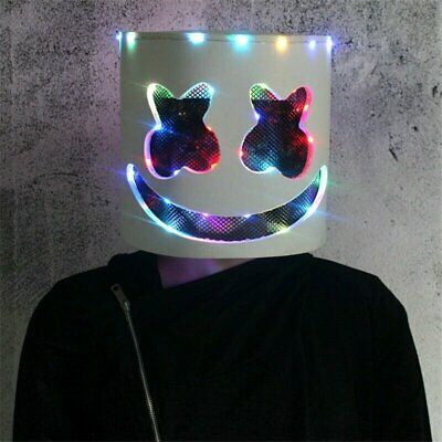 DJ Marshmello Rainbow LED Latex Mask Full Head Helmet for Halloween Party & Club