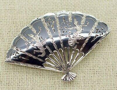 Vintage SIAM Sterling Silver Black Enamel Niello Fan Pin Brooch 2""