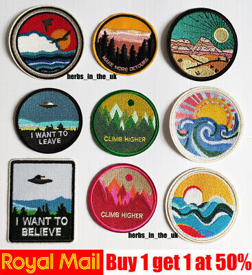 Adventure Design Popular Round Sew Iron On Patch Badge Transfer Fabric Crafts