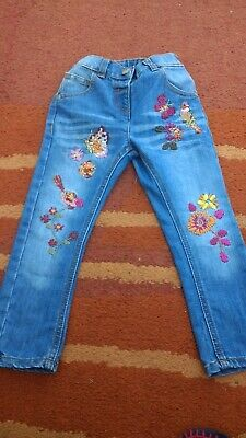 Girls NEXT Embroidered Jeans Butterfly Bird Floral Age 2-3 Years VGUC