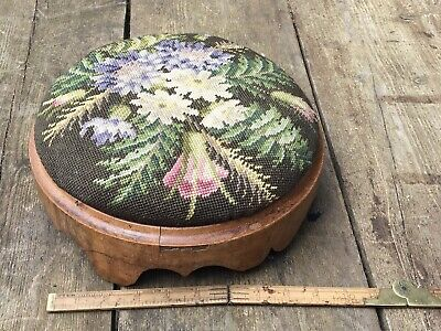 Antique French Floral Tapestry Foot Stool