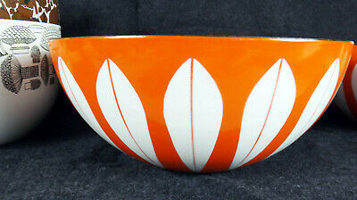 ORANGE eames era Catherineholm enamel salad large bowl leaf mcm mid century 11""