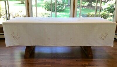 "Vintage White Linen Tablecloth w Madeira Style Embroidery - Size 70"" x 86"""
