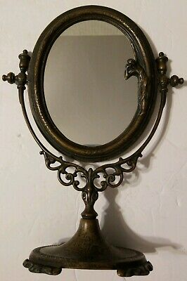 Art Deco Bronze Lady Vanity Tabletop Mirror Made In Italy