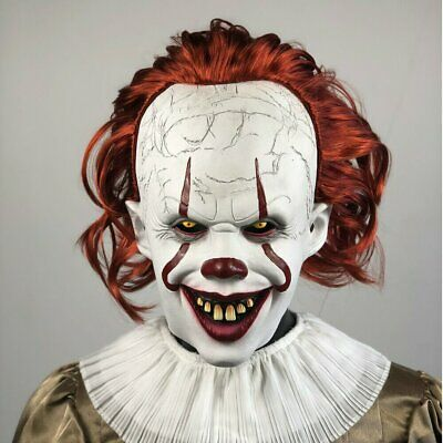2019 Joker Pennywise Mask Stephen King It Chapter Two 2 Cosplay Latex Scary Prop