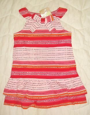 NWT Crazy 8 Girls Size 2T or 3T Pink Geo Flower Dress Elasticized Back With Bow