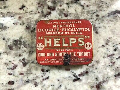 Helps National Licorice tin Antique sore throat remedy NY PA apothecary medical