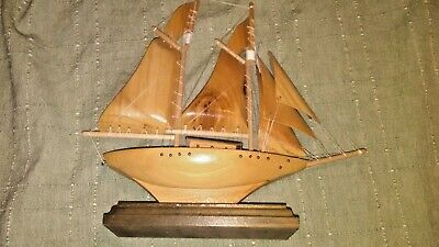"Wooden Sailboat Mantle Decor Hand Carved  Nautical Model sailboat 10"" X 10"""