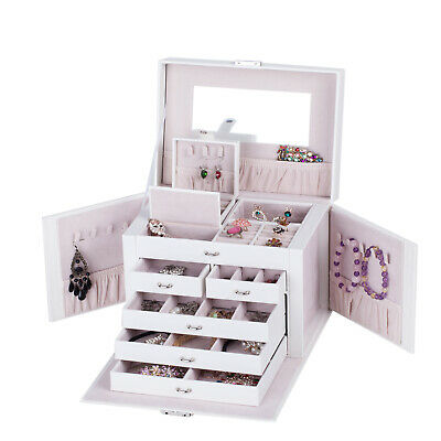 Jewellery Box Girls Rings Necklace Storage Organiser 3 Layers Display Case Gifts