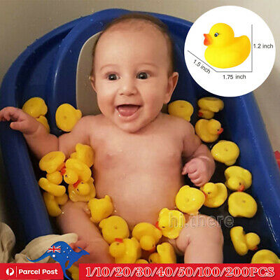 10-200PCS Mini Yellow Rubber Duck Ducks Bathing Toy Squeaky Water Play Kids Toys