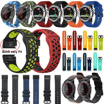 For Garmin Fenix 6X Pro Solar Sapphire Nylon/Silicone Strap Watch Band Bracelet