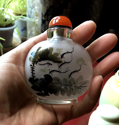 Chinese Antique Snuff Bottle Inner Painting Lotus and Fish