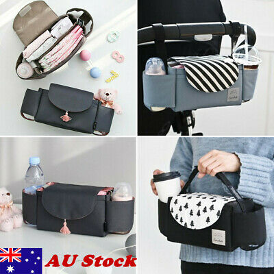AU Universal Buggy Baby Pram Organizer Bottle Holder Stroller Caddy Storage Bags