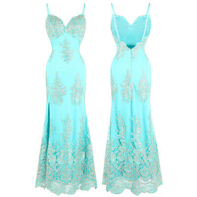 Angel-fashions Spaghetti Strap V Neck Embroidery Floral Long Party Dress 432
