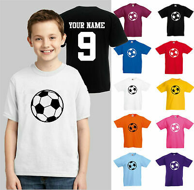 Personalised Kids Football T-Shirt, Add Name & Number Boys Girls Soccer Team Top